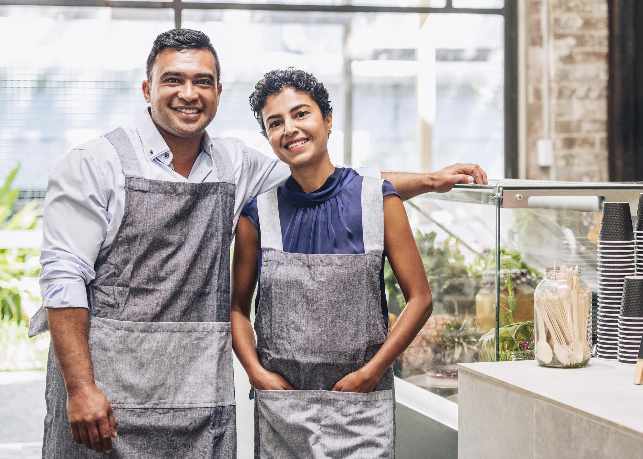 Middle-aged entreprenur couple